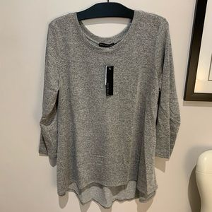 Nally and Millie Pleat Back Grey Sleeve Top